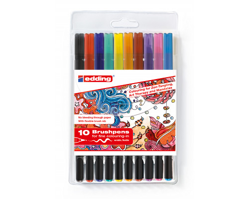 10er Set Tangle Brushpens von Edding 1340